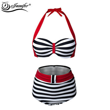 JAONIFER Women High Waist Bikini Sexy Swimsuit Swimwear Push up