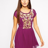 Maya Embellished Skater Dress - Fuschia