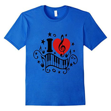 I love music heart note piano T-shirt