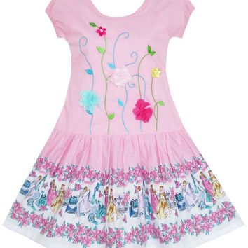 Girls Dress Embroidered Leaves Flower O-Neck Cotton Pink 2018 Summer Princess Wedding Party Dresses Children Clothes Size 7-14