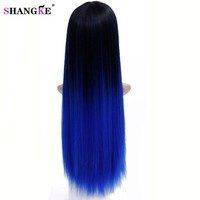 28'' Long Ombre Colored Wig Heat Resistant Synthetic Wigs For Black Women Natural Ombre Blue Wig Ombre Hair Wigs For Women