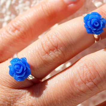 Cobalt Blue  Combo - Above The Knuckle Rings -   Nay Blue Ring -  Boho Rings - Midi Ring - Knuckle Rings -  Set of 3 by Tiny Box