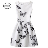Summer new 2017 teens Ladies Dress party Women casual dresses butterfly printing sleeveless 12-20Y Women High-grade dress