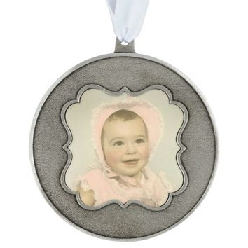 Customizable Baby Photo Holiday Pewter Ornament