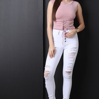 High Waisted Button-Up Skinny Jeans