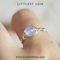 Silver Moonstone ring - wire wrapped jewelry handmade - wire wrap ring - unique rings - custom