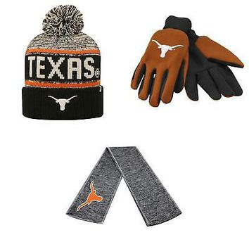Licensed NCAA Texas Longhorns Grip Work Glove Acid Rain Beanie Hat And Hail Scarf 46140 KO_19_1