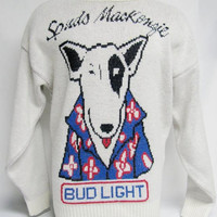 Spuds Mackenzie Bud Light Vintage Cliff Engle Sweater