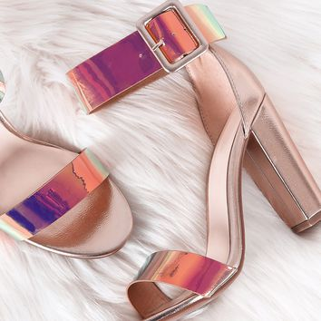 Iridescent Buckled Ankle Strap Chunky Heel Comes In Unicorn Colors