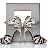 New Tom Ford Silver Python Platform Shoes