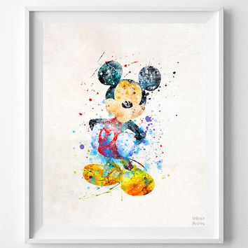 Mickey Mouse Print, Mickey Watercolor Art, Type 2, Disney Poster, Illustration, Modern Home Decor, Bathroom Art, Halloween Decor