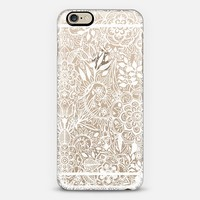 Frosty Floral - white hand drawn floral pattern on crystal transparent iPhone 6 case by Micklyn Le Feuvre | Casetify