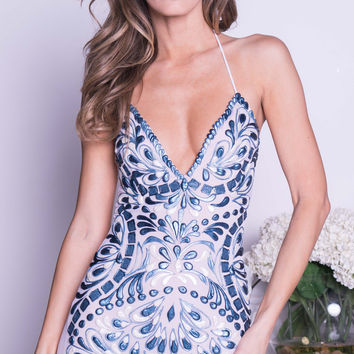 POE BUSTIER DRESS IN WHITE WITH NAVY