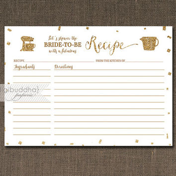 White & Gold Recipe Card INSTANT DOWNLOAD Gold Glitter Confetti White Bridal Shower 5x7 DIY Printable or Printed Fill-In Recipe- Stella