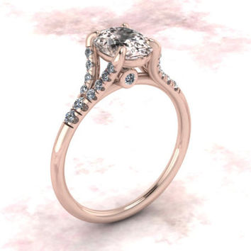 Oval Morganite Engagement Ring Diamond Split Shank Elegant Wedding Ring Solid 14K Rose Gold Bridal Jewelry