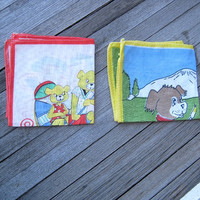 Primary Color Vintage Children's Hankies Feature Romantic Teddy Bear Couple & Puppy Artist Against a Blue Sky - Child/Novelty Gift Hankies