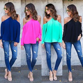 LMF9GW Women's Summer Sexy Halter Off-Shoulder Long Sleeve Chiffon Blouse Top Store 51