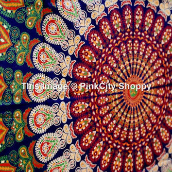 Mandala Tapestry, Tapestry wall Hanging, Psychedelic Mandala Tapestries, Wall tapestries, Hippie Hippie Beach Tapestries, Indian Bedspread