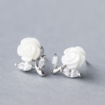 Personality fashion pearl shell flowers 925 sterling silver earrings, a perfect gift