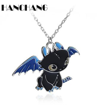 Cartoon Anime Necklace How To Train Your Dragon 2 Toothless Night Fury Lovely pendant Children Necklace Collier for Unisex