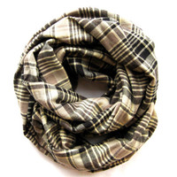 Plaid Infinity Scarf Cute Flannel Scarf Double Loop Scarf Black Taupe Tan Womens Tube Scarf Warm Winter Scarf Teen Scarf Ready To Ship