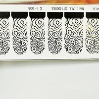 black and white nail wrap, water transfer nail art 12 pcs in a pack.