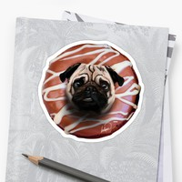'The Pug Donut' Pegatina by Lostanaw