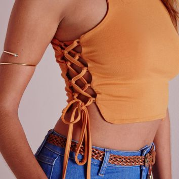 Missguided - Lace up side Crop Top Mustard