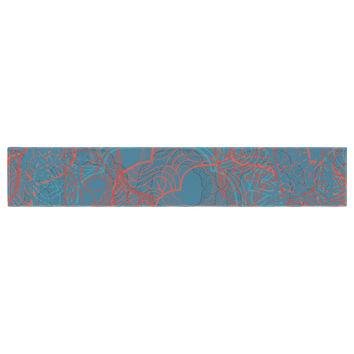 "Patternmuse ""Mandala Teal"" Red Blue Table Runner"