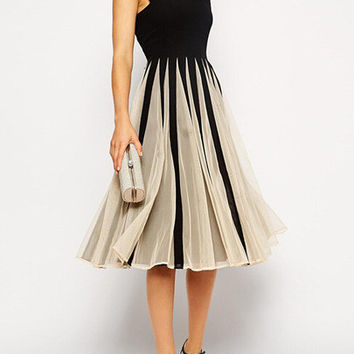 Homecoming Dress Black Top with Mesh Pleated Bottom