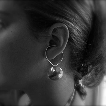 Hoop Style Ear Cuffs, Ear Wraps, Earcuff, Non Pierced Earrings, Pair of Silver Ear Cuffs with Domed Disc Dangles