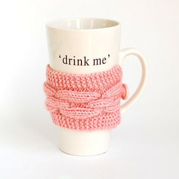 Pink Knit Coffee Cozy. Knitted Pink Mug Cozy. Hand Knit Tea Cup Cozy.