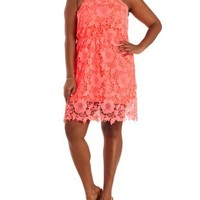 Plus Size Neon Pink Racer Front Crochet Dress by Charlotte Russe