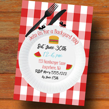 BBQ Invitation - BBQ party invitation - Party invitation - Printable party invitation - BBQ birthday invitation - Summer party invitation