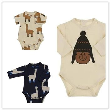 2017 Autumn Baby Boy Girl Tiny Cotton Romper Jumpsuit Outfits Clothes 0-24M Newborn Grass Mud Horse Printing Newborn Clothing