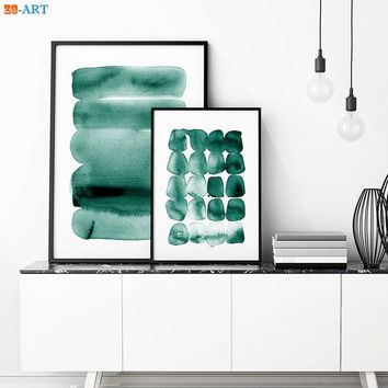 Modern Abstract Watercolour Print Teal Green Decor Brush Strokes Ink Wall Art Nordic Canvas Painting Bedroom Home Decor Framed