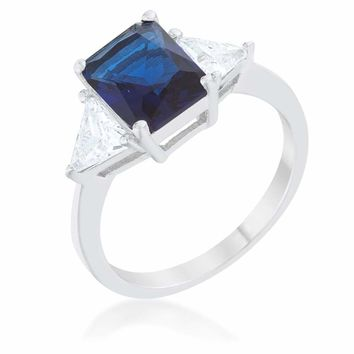 Classic Blue Sterling Silver 3 Stone Emerald Cut and Trillion Cut Sides Engagement Ring JGI