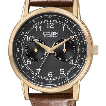 Citizen Eco-Drive Mens Day/Date Strap Watch - Black Dial and Rose Gold-Tone Case