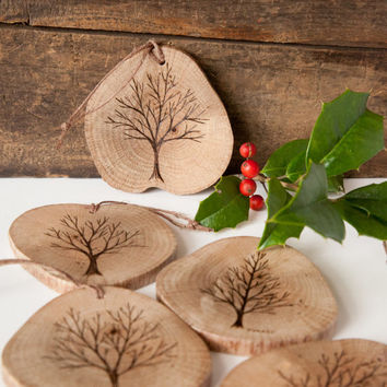 Wood burned tree ornament on spalted oak. Double sided rustic wooden christmas ornament.