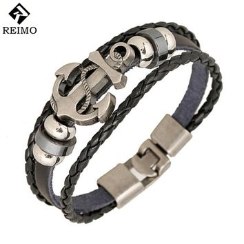 Fashion Jewelry anchor Alloy Leather Bracelet Men Casual personality PU Woven Beaded Bracelet Vintage Punk Bracelet Women BC036