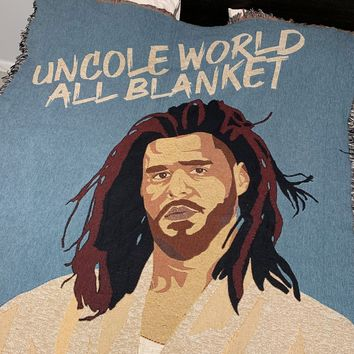 J Cole Inspired Uncole World All Blanket Woven Blanket