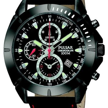 Pulsar PF8305 Men's Black Dial Chronograph Leather Strap Watch