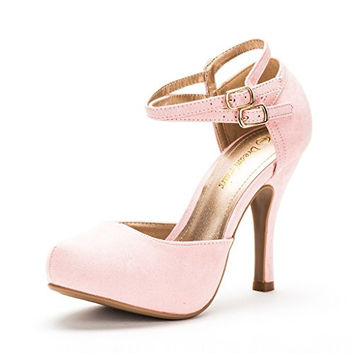 DREAM PAIRS OFFICE-02 Women's Classy Mary Jane Double Ankle Strap Almond Toe High Heel Pumps New,high heels in pink