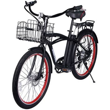 X-Treme Newport Elite 24 Volt Electric Beach Cruiser Bicycle Bike Black NEW