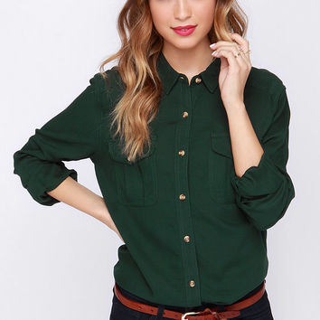 Obey Cadet Forest Green Button-Up Top