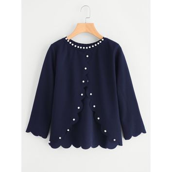 Pearl Beading Overlap Back Scalloped Top Navy