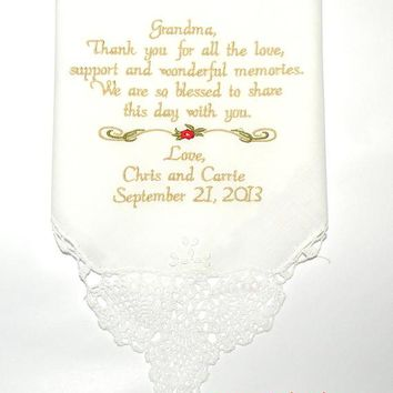 Wedding gift Grandma Gift, Grandmother, Nana, Embroidered Wedding Handkerchief, Wedding Gift for Grandma Wedding Gifts By Canyon Embroidery