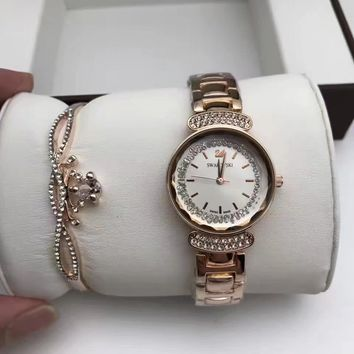 Swarovski Women Fashion Diamonds Delicate Wristwatch Watch Two Piece Suit
