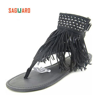 SAGUARO Fashion Summer Shoes Women Beach Sandals Bohemia Tassels Flip Flops Gladiator Women Flat Shoes Sandles Mujer Sandalias