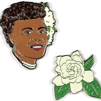 Billie Holiday & Gardenia Enamel Pin Set - PRE-ORDER, SHIPS EARLY JULY